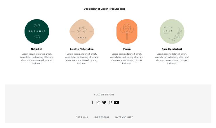 Icon Boxen Produktseiten